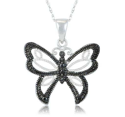 $12.99 3/28/2012 Only. Silver Plated Black Diamond Accent Filigree Butterfly Pendant