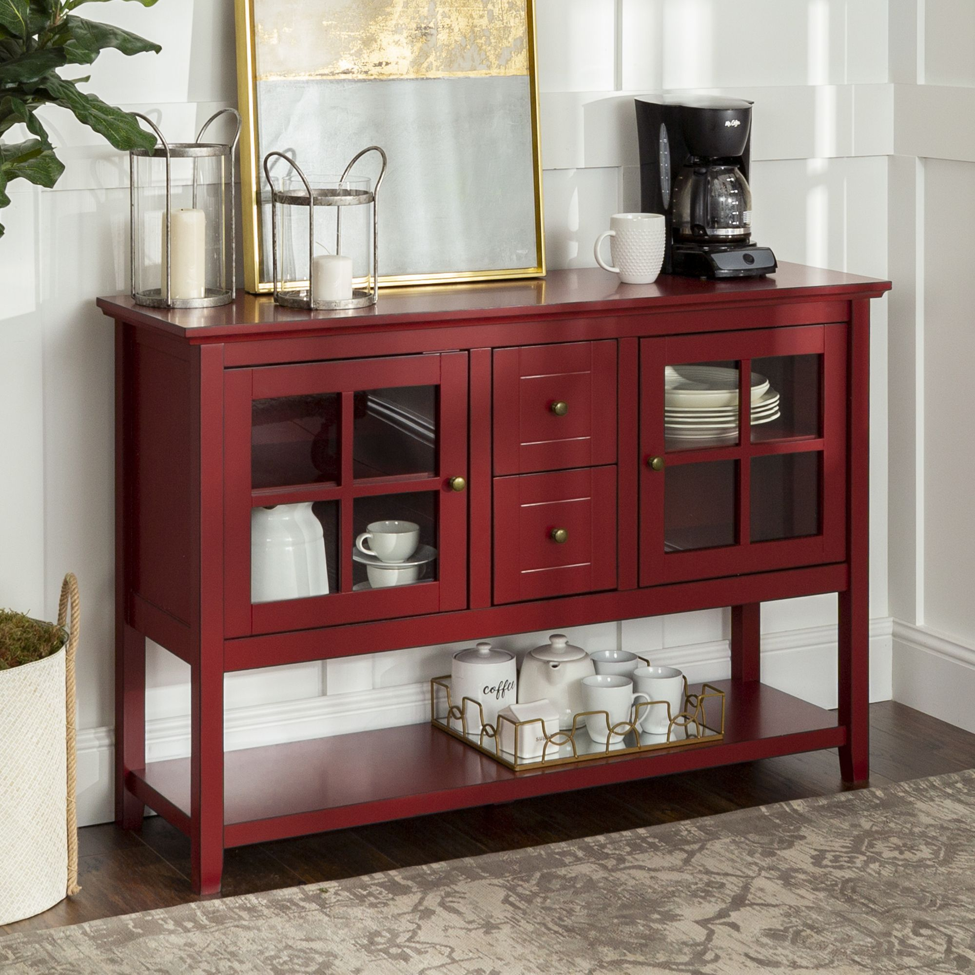 Home Farmhouse buffet, Tv stand with drawers, Glass