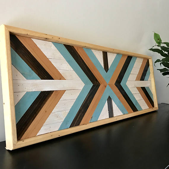 Handmade Geometric Wood Art Each Piece Is Stained Cut And