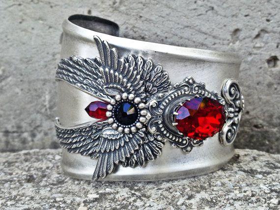 Silver Gothic Cuff Bracelet Wings Siam Red Swarovski Statement Cuff  Steampunk Cuff Gothic Jewelry 04e8da3841a