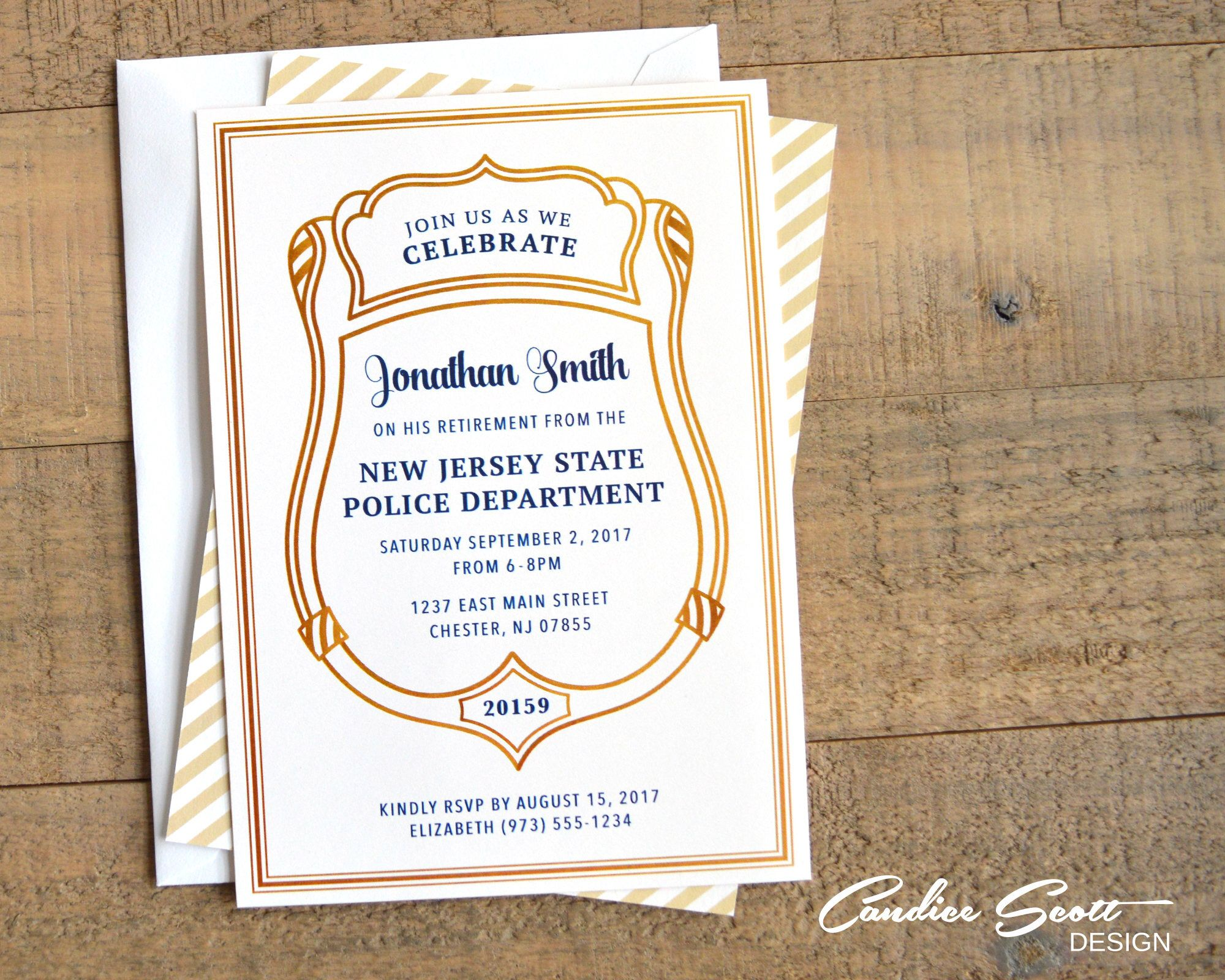 Police Officer Retirement Invitation With Badge Number Printable