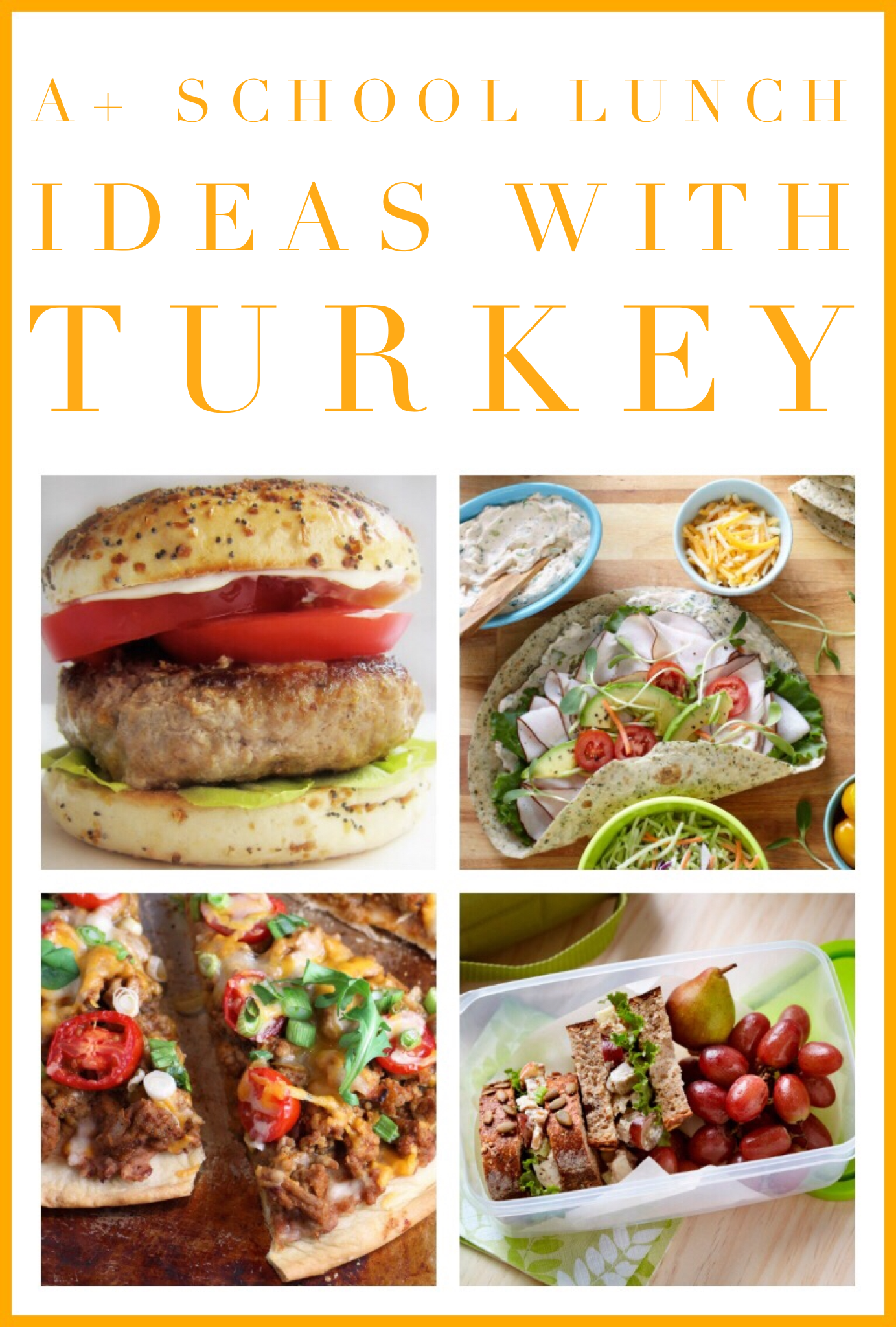 If you're looking for a fresh idea for kids lunches, get creative with Canadian turkey! Here are some A+ turkey lunch ideas: a wrap, salad, burger, sandwich, or even pizza! Find recipes for all of these and more on our recipe page at canadianturkey.ca.