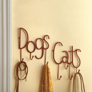 Cute way to hang all those really annoying pet accessories... #pet #pets #accessories #petaccessories #family #home #yourhomemagazines #cat #dog #fish