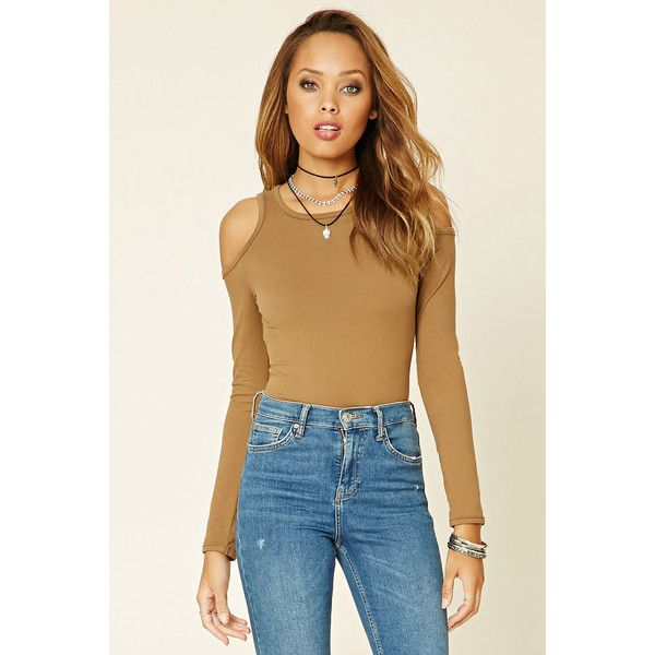 Forever21 Open-Shoulder Knit Top ($9.99) ❤ liked on Polyvore featuring tops, camel, cold shoulder knit top, camel top, long sleeve tops, scoopneck top and open shoulder top