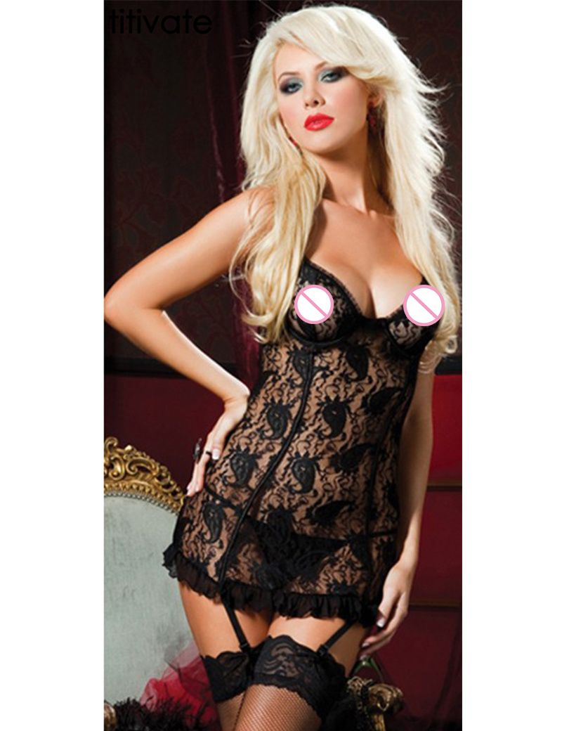 Titivate 2016 New Fashion Women High Quality Underwear Sleeveless Dress Mini Sexy Lingerie Babydoll Gaun Malam Wanita Black Strappy Floral Lace Ruffled Chemise With V Neckline