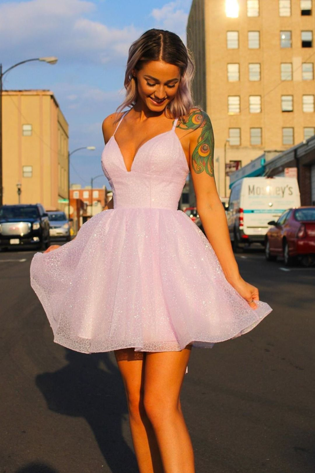 Lavender A line Short Homecoming Dress from wendyhouse   A line ...