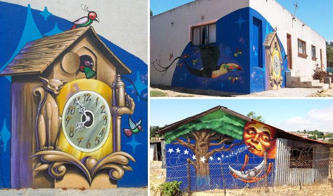 Cuckoo clocks and laughing moons in Pella, South Africa - art by Falco One (with Rasty) for 'Once Upon a Town,' several murals in towns along the West Coast