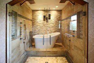 Contemporary Master Bathroom with Jet Shower Head, Handheld Shower Head, High ceiling, limestone tile floors, Pendant Light