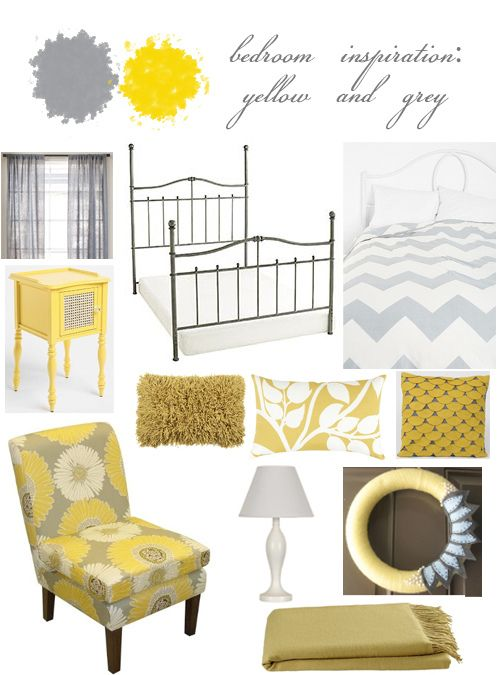 Nice pop of color Doing a grey and yellow bedroom theme this