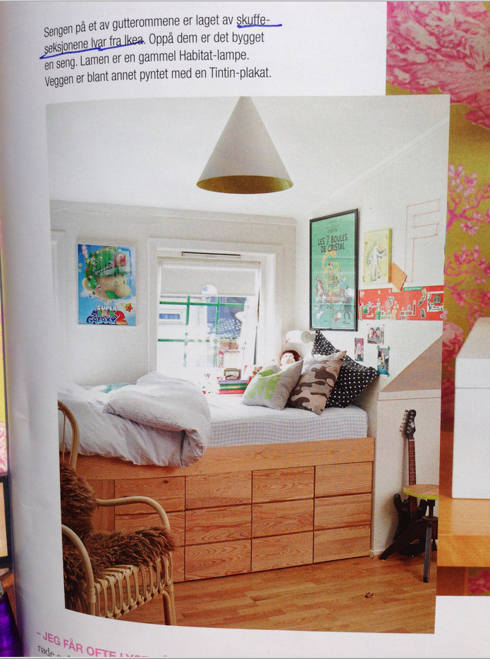 Platform bed with base made from ikea ivar drawers ivar for Ikea cabinet bed hack