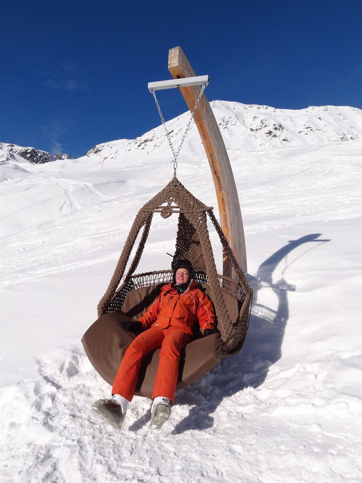 Swing chair in ski resort Serfaus, Austria. Manufacturer