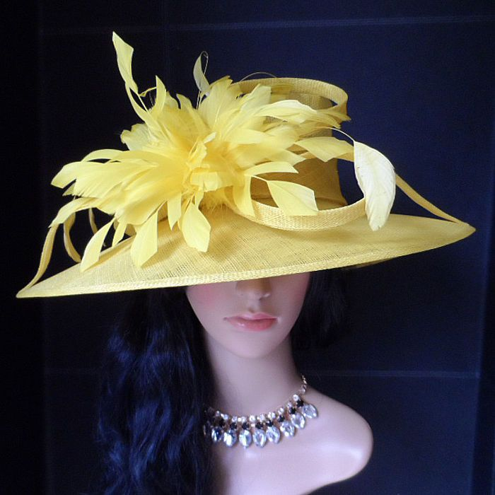 Ladies New Canary Yellow Wedding Occasion Formal Ascot Hat
