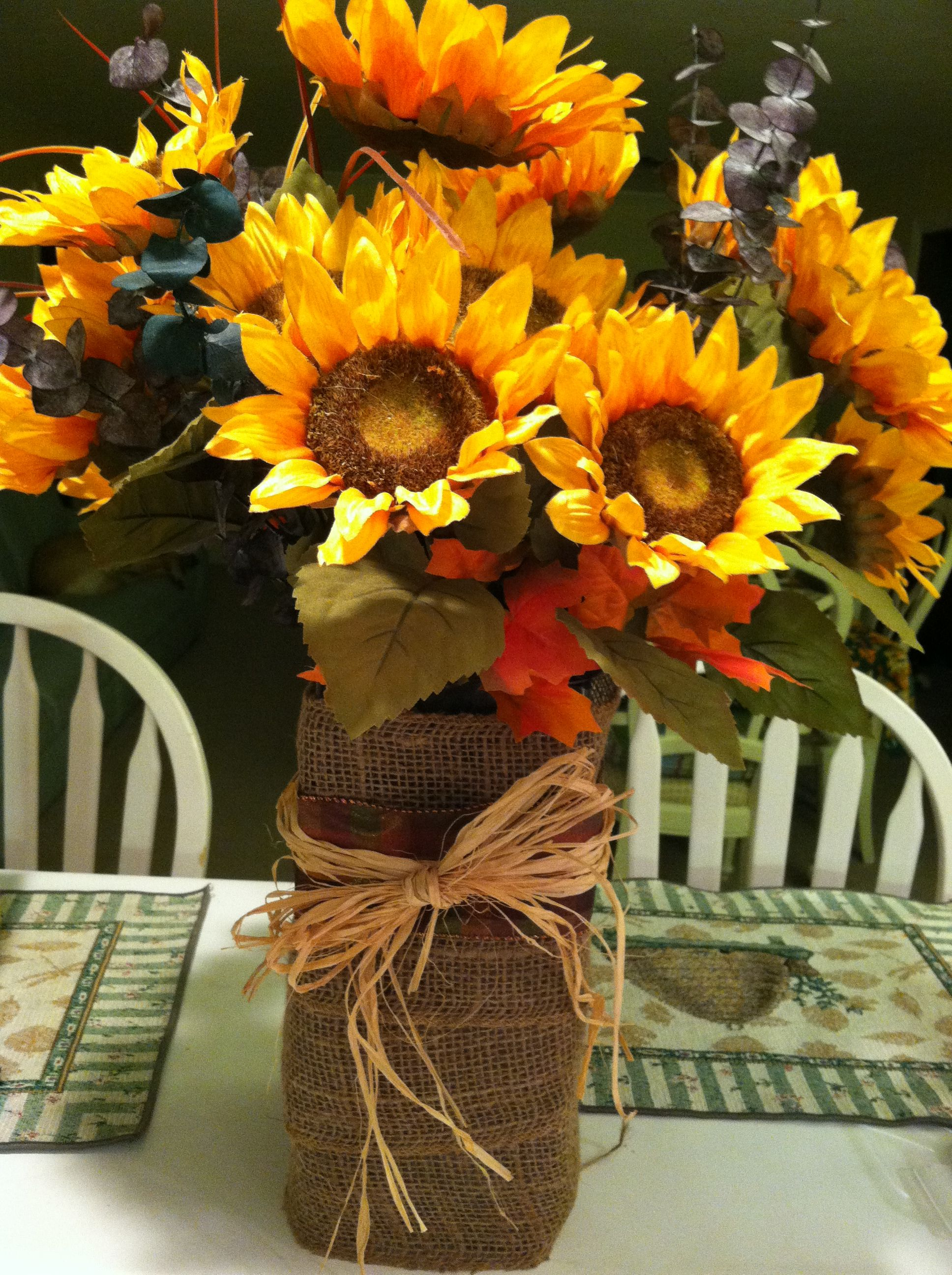 Fall decoration wrap a vase with burlap ribbon and straw and add fall decoration wrap a vase with burlap ribbon and straw and add some izmirmasajfo