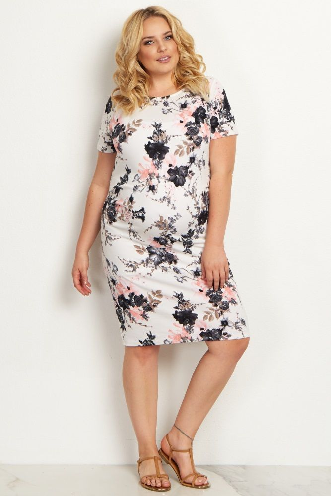 White Floral Fitted Plus Maternity Dress My Style Plus Size