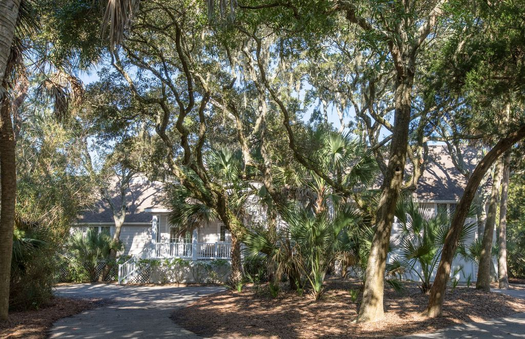 Exterior Circular drive and lots of live oak trees (With