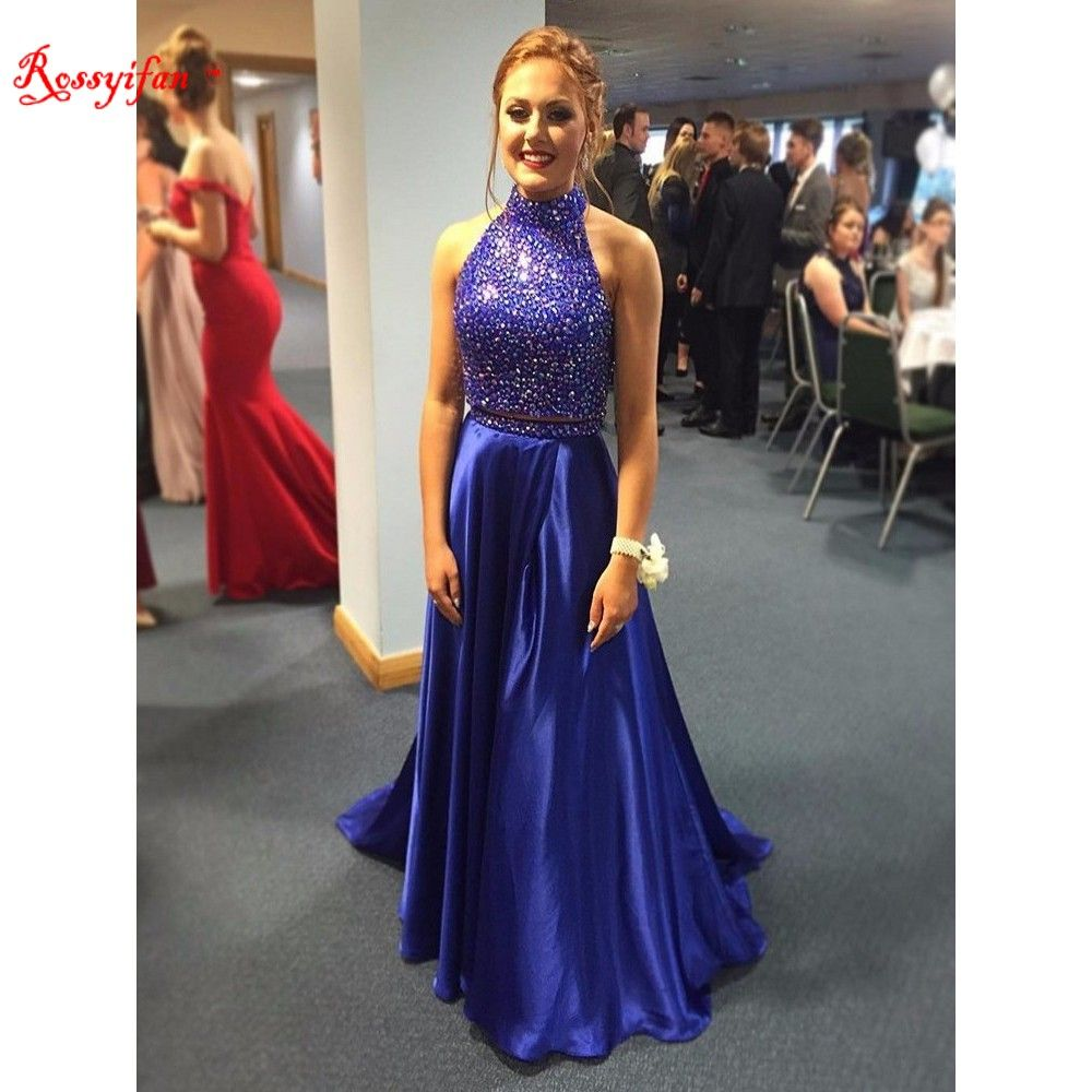 Click to buy ucuc customize beaded bodice satin royal blue prom gown