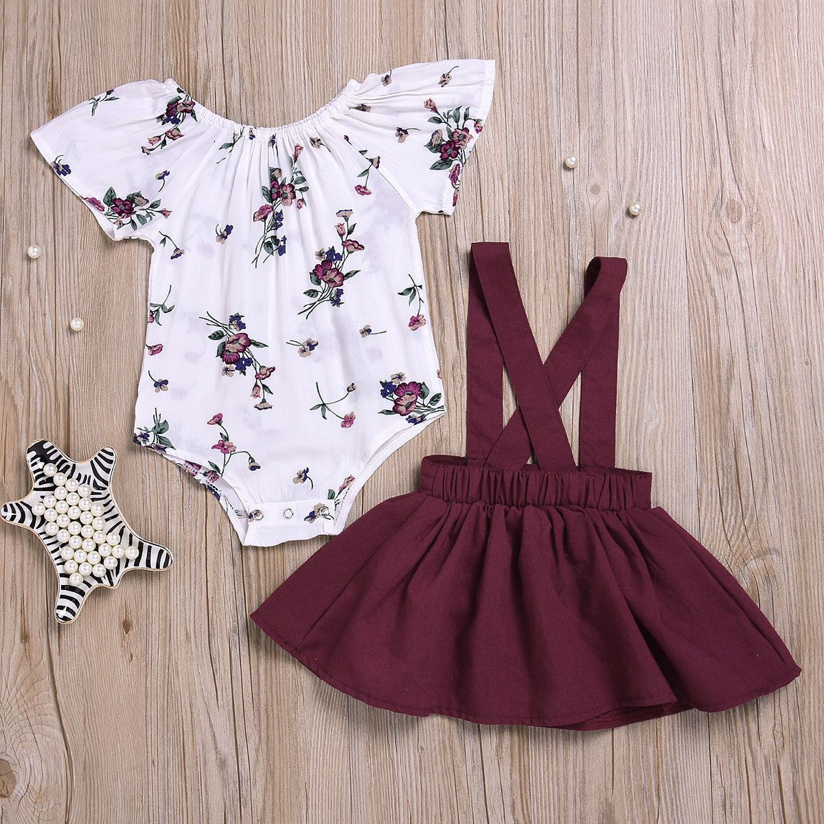 Red Ruffle Dress Summer Outfits 1-5T 2PCS Toddler Girl Skirt Sets Off-The-Shoulder Sets Embroidery Rose Top