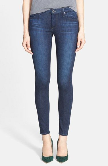 4339364556c1a Free shipping and returns on AG Super Skinny Ankle Jeans (Coal Blue) at  Nordstrom.com. Soft distressing enhances the saturated blue wash of these  ...