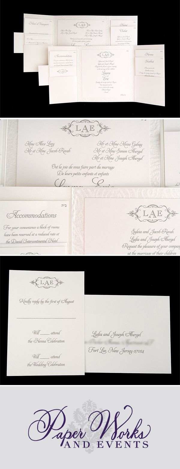 A custom monogram/crest was on their insert cards and on both ...