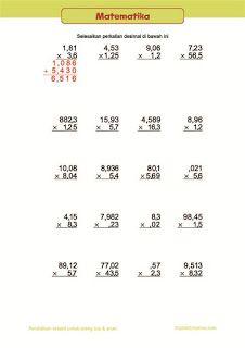 belajar anak, matematika kelas 5 SD, lembar bilangan desimal, perkalian  Belajar Anak