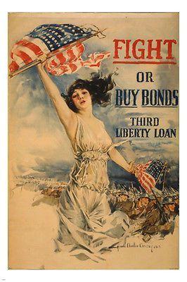 Fight or Buy Bonds NEW Vintage Patriotic WWI Art Print POSTER