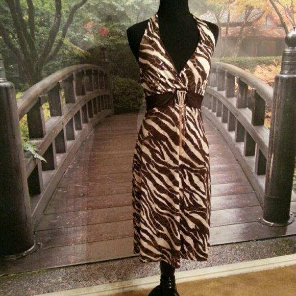Club dress Brown,  gold and cream ZEBRA print DRESS MBC Galleria Dresses