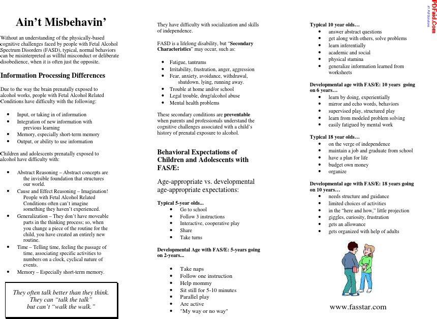 FASD Brochure for Teachers Aint Misbehaving Disability - disability form