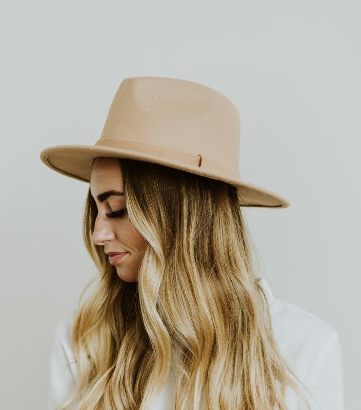 Faux Felt Stiff Brim Hat in Tan100% polyester. Fedora style crown. Stiff 3