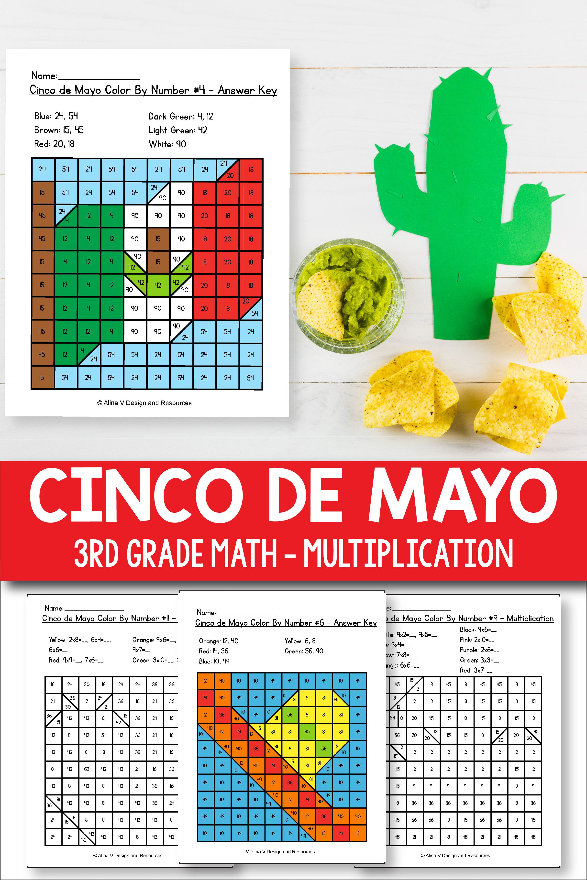 Cinco de Mayo Multiplication Math Worksheets for 3rd grade kids is fun with  these hundreds chart print…   Elementary math lessons [ 3601 x 2401 Pixel ]