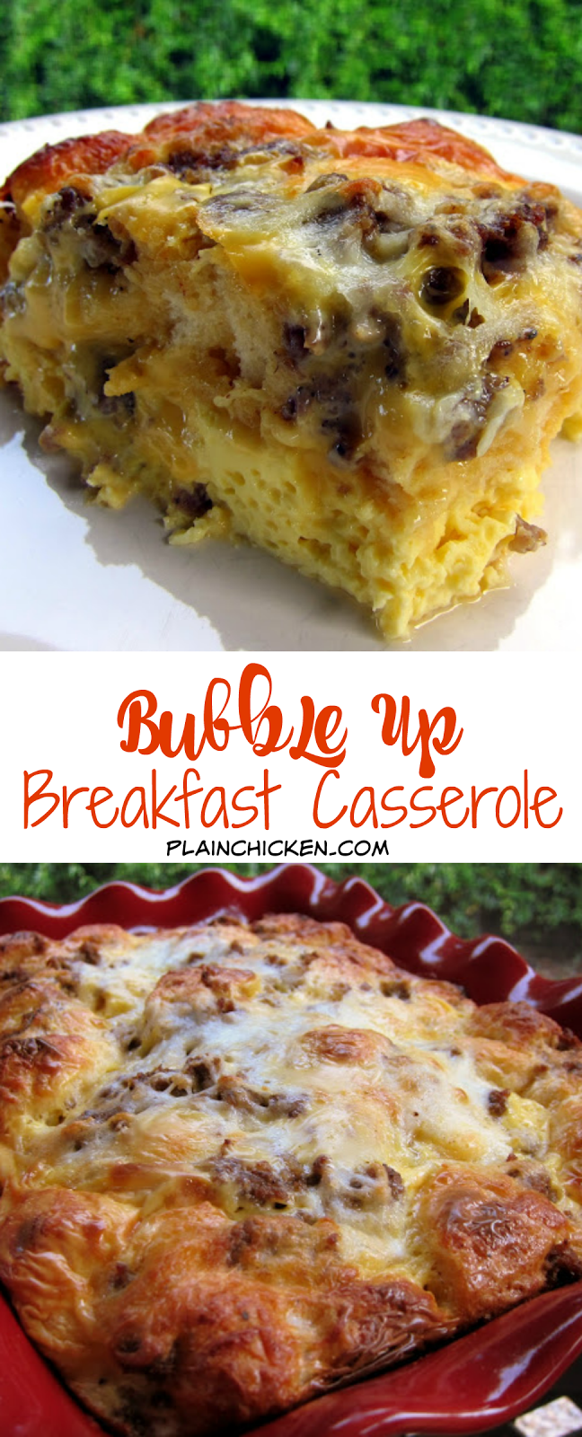 Up Breakfast Casserole - sausage, eggs, cheese and biscuits. SO good! Great for baby showers, overnight guest and the holidays. Only takes minutes to make. Quick and easy breakfast recipe!