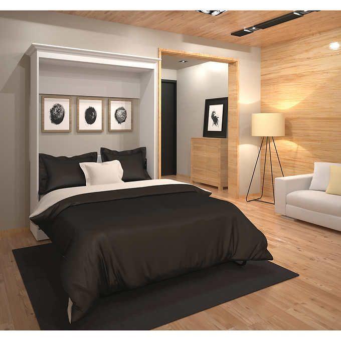 Best Bestar Audrea Full Wall Bed In White Modern Murphy Beds 400 x 300