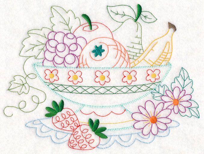 Kitchen Fruit Bowl (Vintage) design (M11091) from www.Emblibrary.com