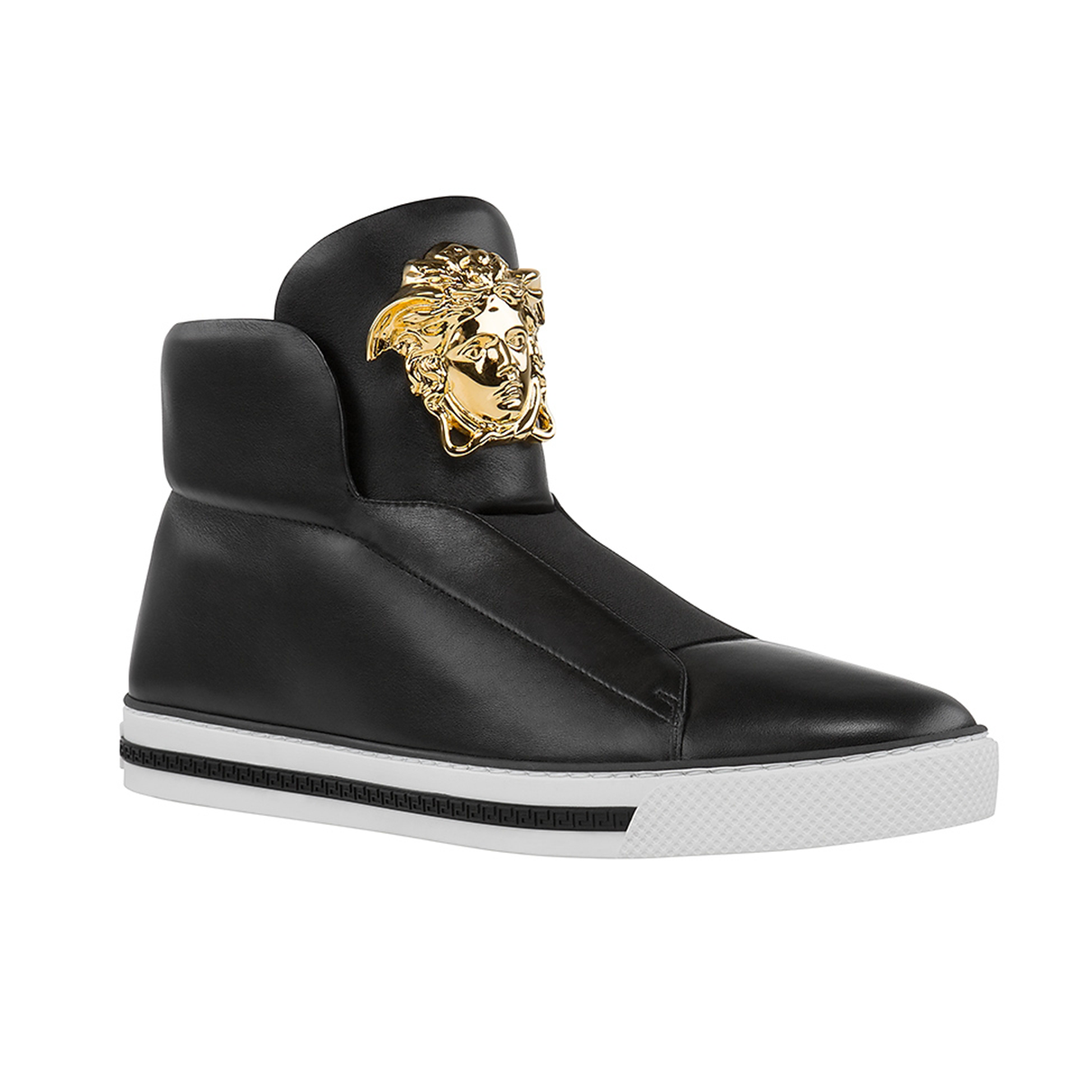 4f8b29fd898 These black Palazzo high-top sneakers are designed to walk miles in style.  Boost your look with this ultimate statement.  Versace