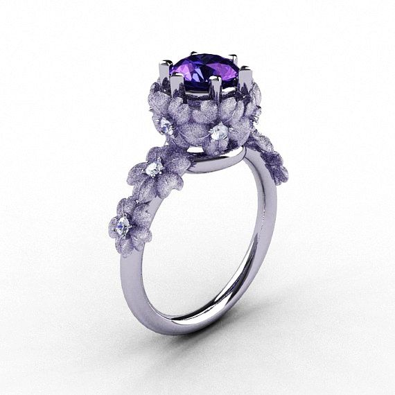 Delightful 14K White Gold Alexandrite Diamond Flower Wedding Ring, Engagement Ring