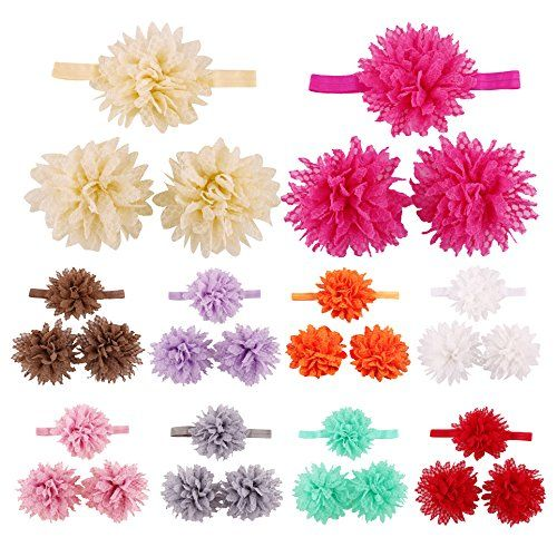 3sets/9pcs Baby Newborn Girl Elastic Headband Band Foot Toddler Infant Crown Flower Hair Bow Photography