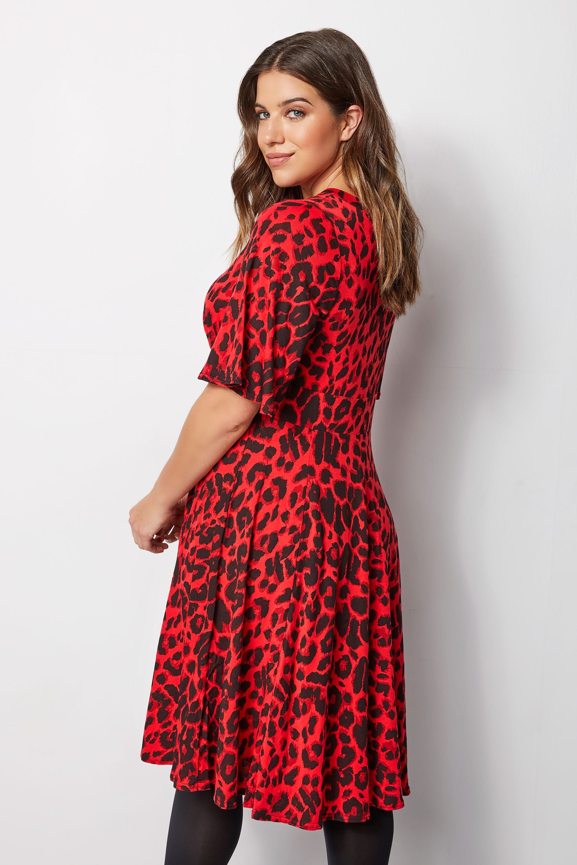 1a7fdb9598e4 Red Leopard Print Midi Dress in 2019 | Yours Clothing | Red leopard ...