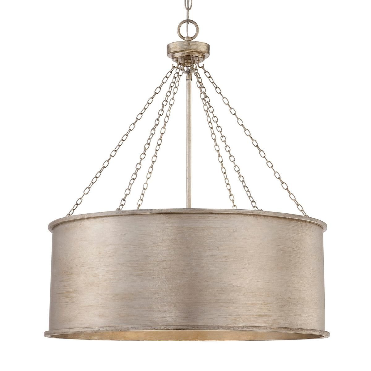 Luxe Patina Metal Drum Shade Pendant   Large