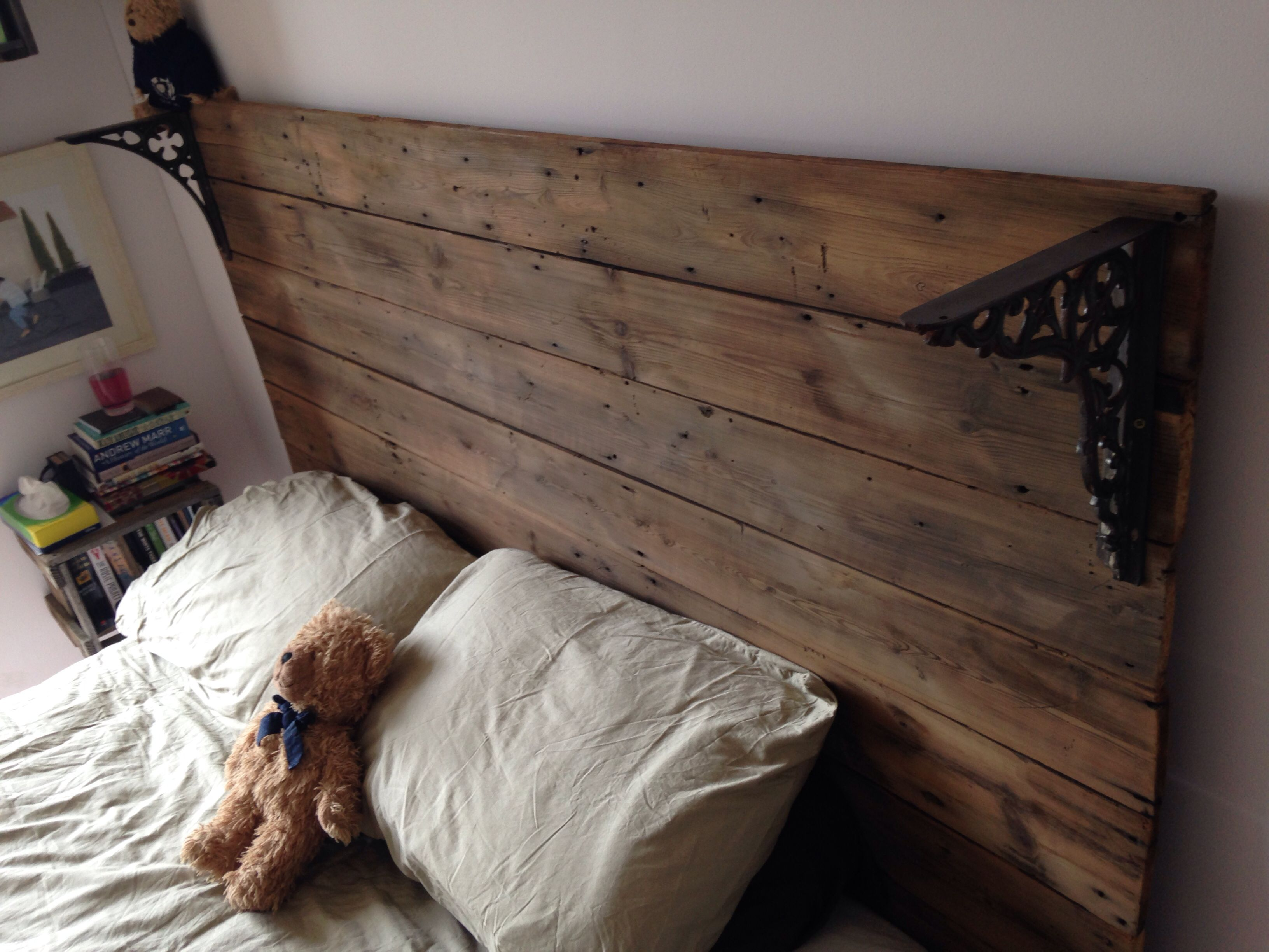 Homemade Head Board pinterest inspired homemade headboard made from old floorboards