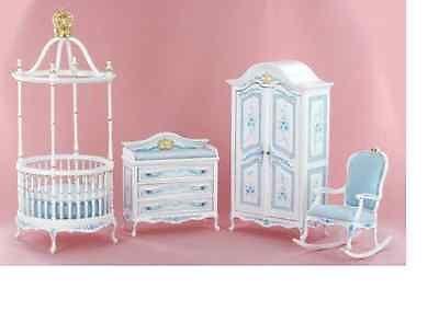 Dollhouse Miniature Nursery Baby Room Crib Furniture Set Hand