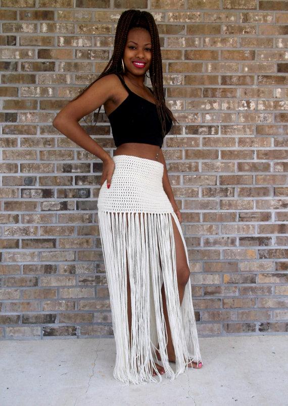 480a7b2ad Custom Hand Crochet Fringe MAXI SKIRT, Floor Length Long Fringe,swimsuit  cover up, bikini cover up,