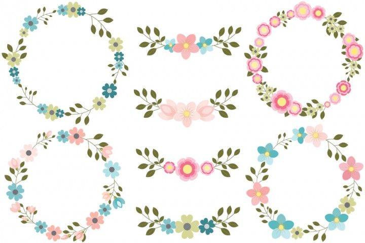 Pink Floral Wreaths Clipart Blue Flower Wreath Clip Art Set Round Borders And Frames By Pravokrugulnik Wreath Clip Art Blue Flower Wreath Borders And Frames