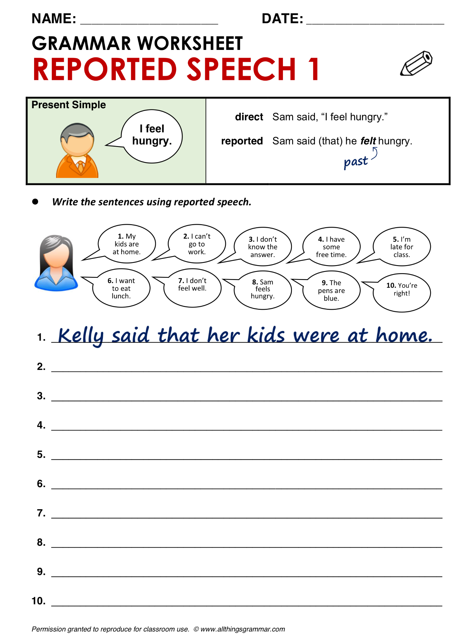 English Grammar Reported Speech 1 From Present Simple