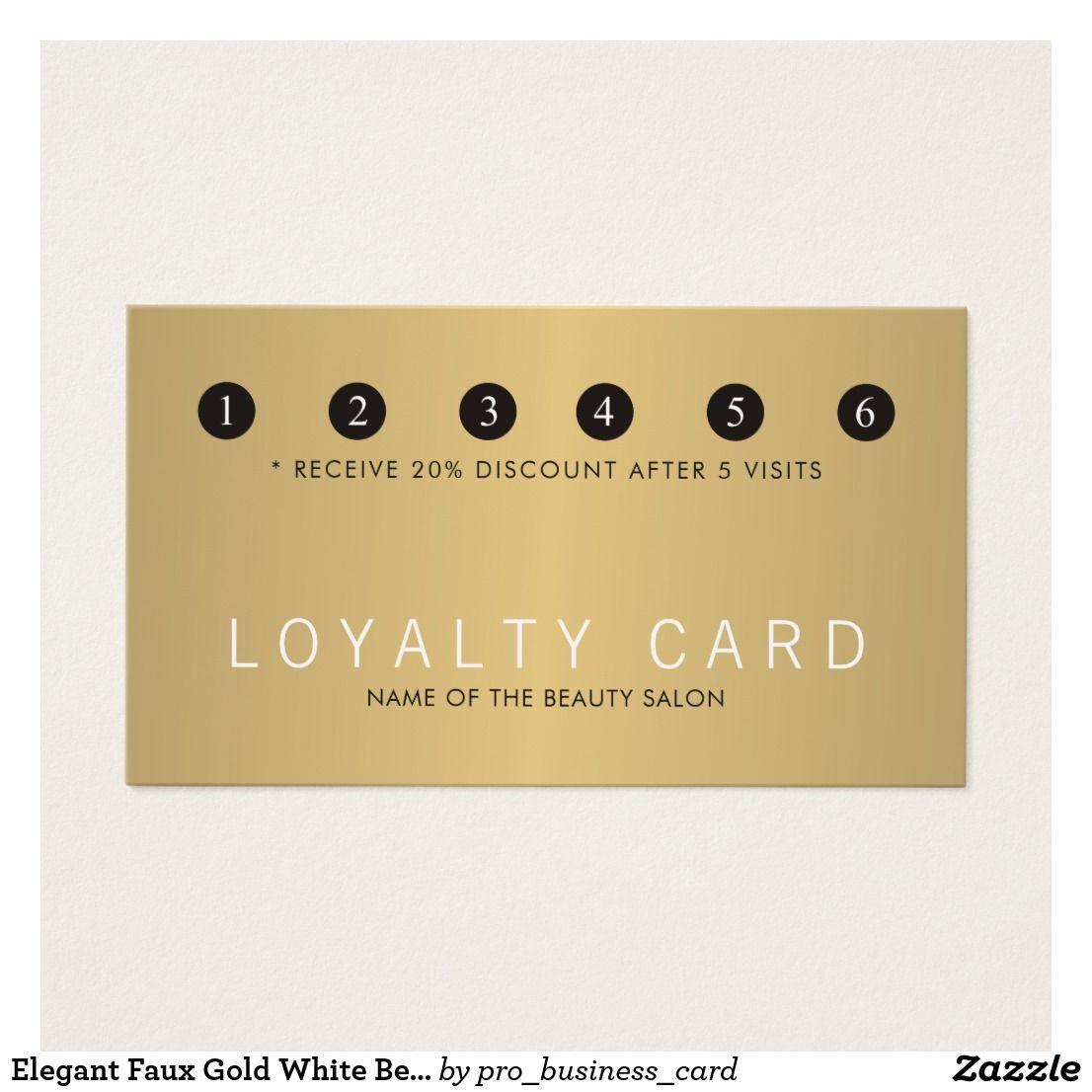 Elegant Faux Gold White Beauty Salon Loyalty  Zazzle.com