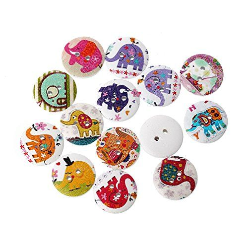 20 Mixed Colourful Elephant Print Round 20mm Sewing Buttons. 2 Holes. Scrapbooking, knitting, crochet, sewing, craft buttons. The Little Button Shop Buttons http://www.amazon.co.uk/dp/B00NVPUXA8/ref=cm_sw_r_pi_dp_yoK5vb0XQPFJ2