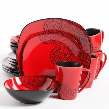 Red And Black Kasbar Blossom 16 Piece Dinnerware Set Service For 4