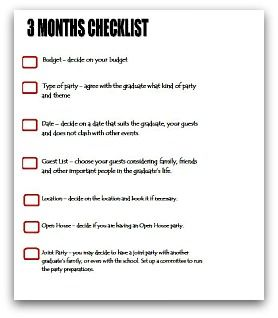 Month Party Planning Checklist  Graduation Party Ideas