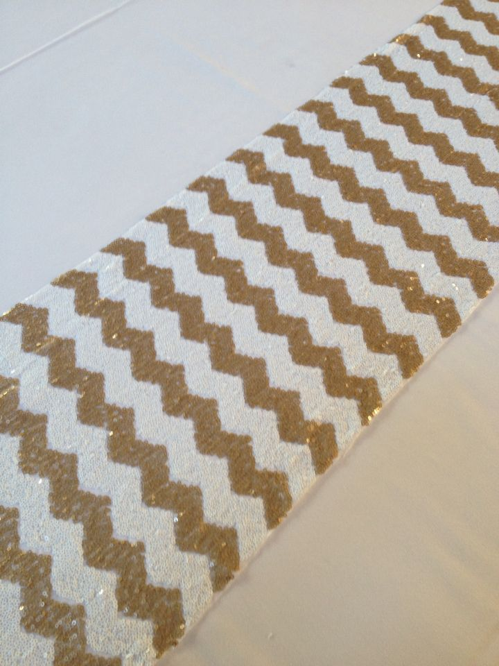 Sequin Chevron Pattern Table Runners