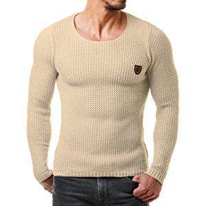 EightyFive Herren Pullover Feinstrick Slim Fit Schwarz Weiß