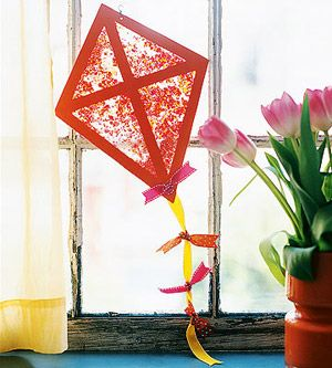 Kite Sun Catcher by Grace Dioguardo, parents.com: Simply made with wax paper and melted crayons. #Kite #Grace_Dioguardo #parents_com