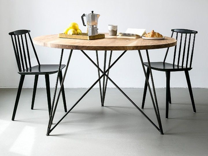 OAK STEEL TABLE Esszimmer Esstisch rund NutsandWoods Eiche